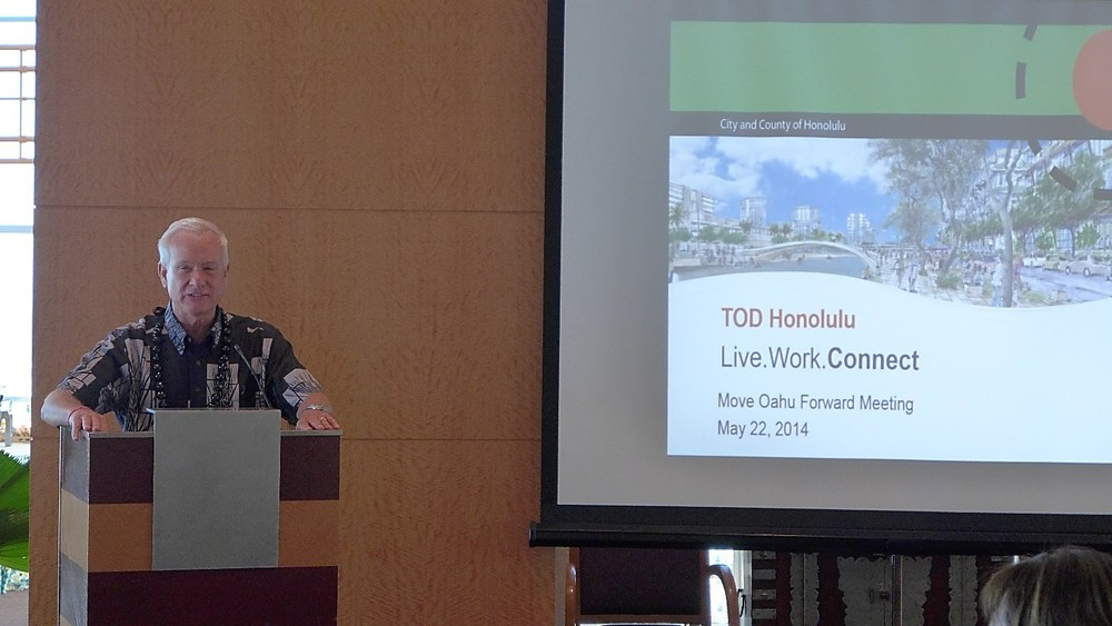 Mayor Kirk Caldwell talks about transit oriented development plans in Honolulu.