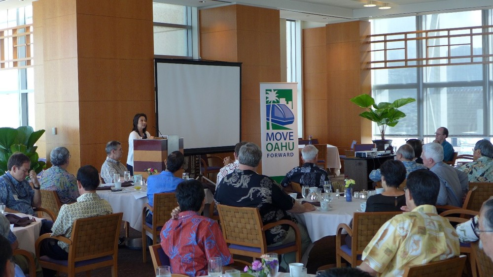 House Finance Chair Sylvia Luke addresses transit issues and encourages the audience to clearly define a long term vision for Honolulu's future.