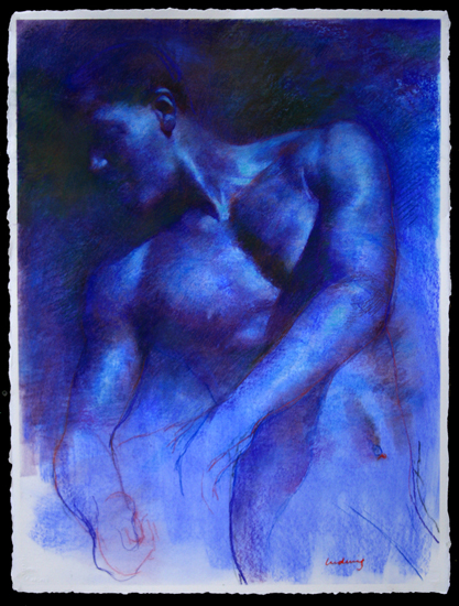 "Blue Figure Study for Raft  30"" x 22"""