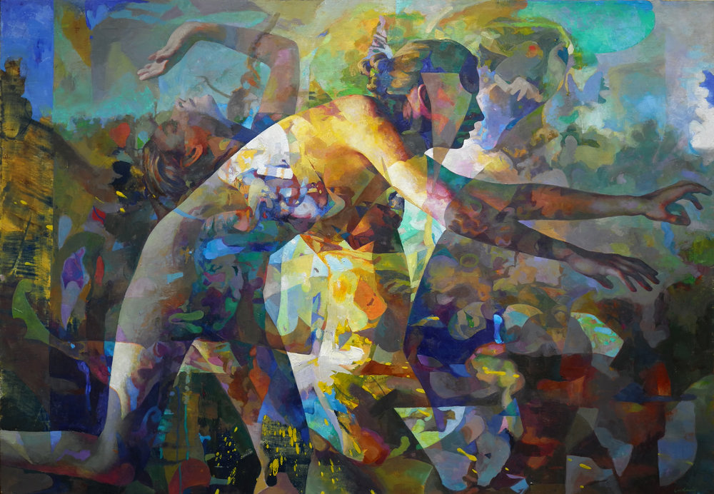 """Fleeing Figures"" oil on linen 36"" x 52"""