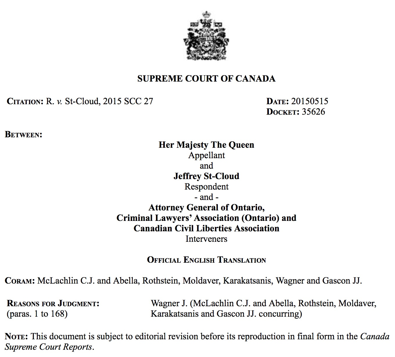 Supreme Court of Canada Series: R  v  St-Cloud (Tertiary