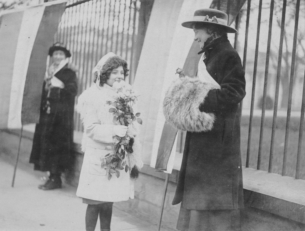 Washington Children Distributing Flowers to Congressional Union White House Pickets