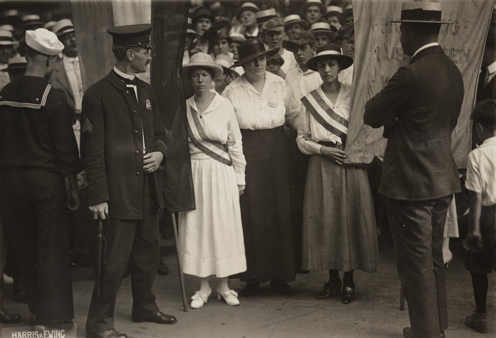Arrest of White House pickets Catherine Flanagan of Hartford, Connecticut (left), and Madeleine Watson of Chicago (right)