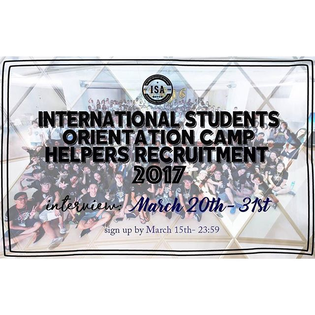 "[2017 International Student Orientation Camp Helpers Recruitment🎉] Hey guys, a new batch of students is coming our way this summer! We need YOUR help to kick off the next chapter of their lives in CUHK. Come and share your experiences with the freshmen! Interested parties please refer to the attached form. - 📍Reminders: 1. Please make sure you can be present the day before and throughout the orientation camp(8/20-8/25 temporary) 2. Please choose your available time slot for the interview, application is not complete until an interview time has been selected. We will further contact you to confirm the meeting time. Make sure you be there on time. 3. Local and non-local students are all welcome to sign-up. 4. Hostel point counted for some colleges - ✔Sign-up form here: https://goo.gl/forms/9khy1YvXoKY3NyY62 ✔Interview Time:3/20-3/24, 3/27-3/31 Monday to Friday (Details on the form) ✔Deadline:3/15 (Wed) 23:59 Please contact the International Students Association if you have any questions. [2017 International Student Orientation Camp Helpers Recruitment🎉] 又到了一年一度招募IO HELPER的時間啦!想重溫當年參加o camp的熱血嗎?想多認識國際生學長姐學弟妹嗎?想當組爸媽照顧可愛freshmen並將自己的經驗與他們分享嗎?那就別再猶豫了,負責又熱血的大家快來報名參加吧! - 📍報名注意事項: 1. 請確保今年營期開始前一天至結束(暫定8/20-8/25)能全程參加 2. 繳交報名表單後,將進行為期兩週的面試,完成google表單報名後,將會在個人信箱收到doodle面試時間連結,填妥報名時間後才算報名成功 3. 報名對象「不限年級及國籍」歡迎本地生及非本地生踴躍參加 4. 部分書院可加宿分 - ✔️報名表單:https://goo.gl/forms/9khy1YvXoKY3NyY62 ✔️面試時間:3/20-3/24, 3/27-3/31(填妥個人面試時間才算報名成功) ✔️報名截止日期:""3/15 (三)"" 23:59 有任何問題歡迎向國際學生會Facebook詢問  #cuhk#isa#ocamp"