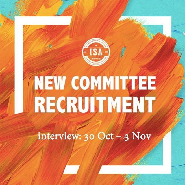 . [ISA New Committee Recruitment] As we, the 8th Executive Committee, slowly and sadly near the end of our term, it is time for us to begin the recruitment of our successors. We are in search of dedicated candidates who have strong enthusiasm towards serving the international community of CUHK! If you believe you are a suitable candidate, and are interested in applying, further details regarding application procedures can be found below:  Interview Period: Monday 30/10, 2017 - Friday 3/11, 2017 * APPLICATION DEADLINE (for both google form and interview registration): Wednesday 25 October 23:59^ Sign up here: https://goo.gl/forms/EdoEgrfu2qVGiwCd2 - *Note that the following date is tentative. ^Note that interview arrangement must be made through a separate form.