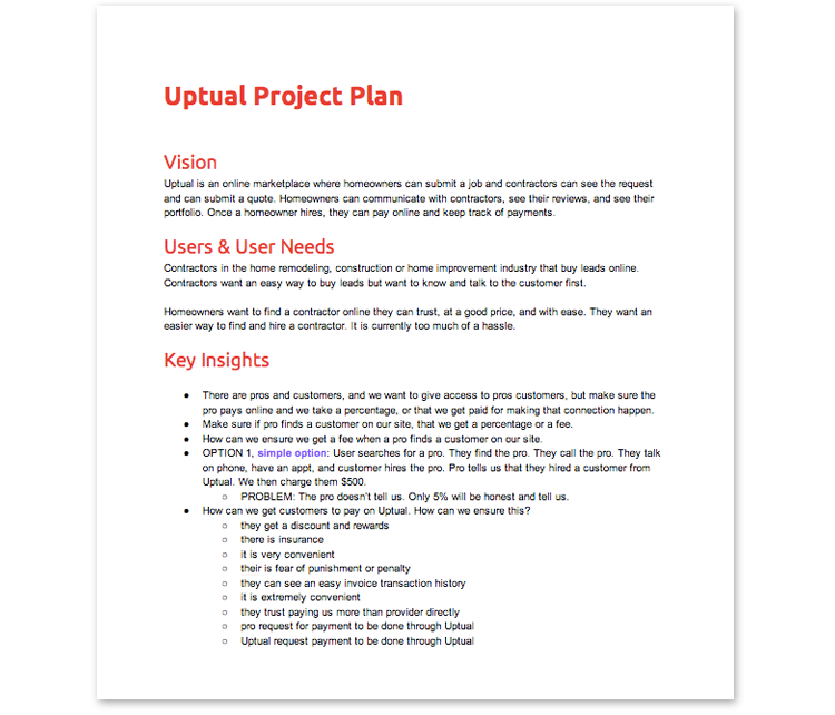 A page from the Uptual Product Plan