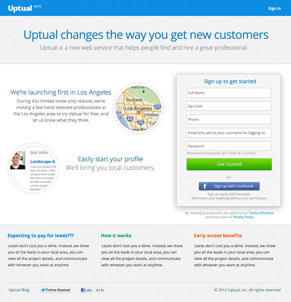 Conversion focused landing page for Uptual 1.0