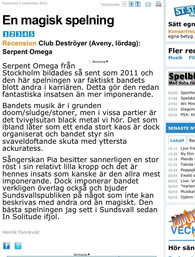 Live review / Sundsvalls Tidning