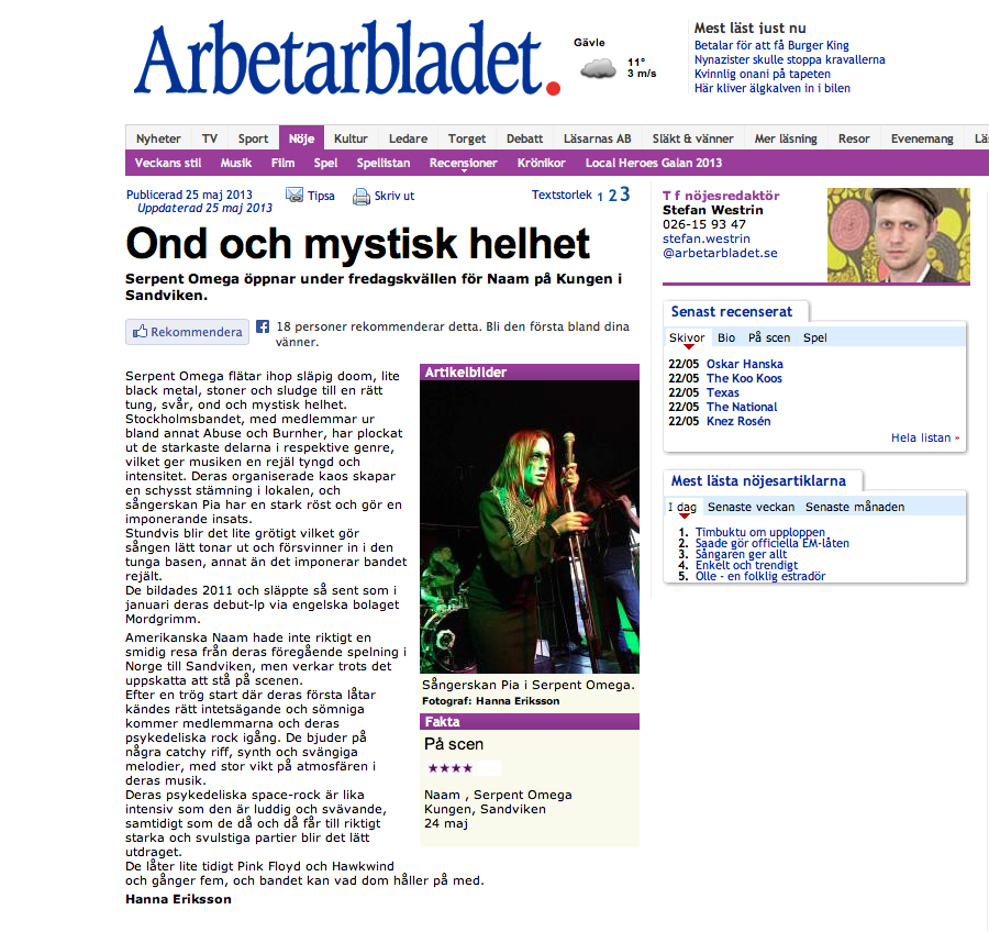 Live review / Arbetarbladet