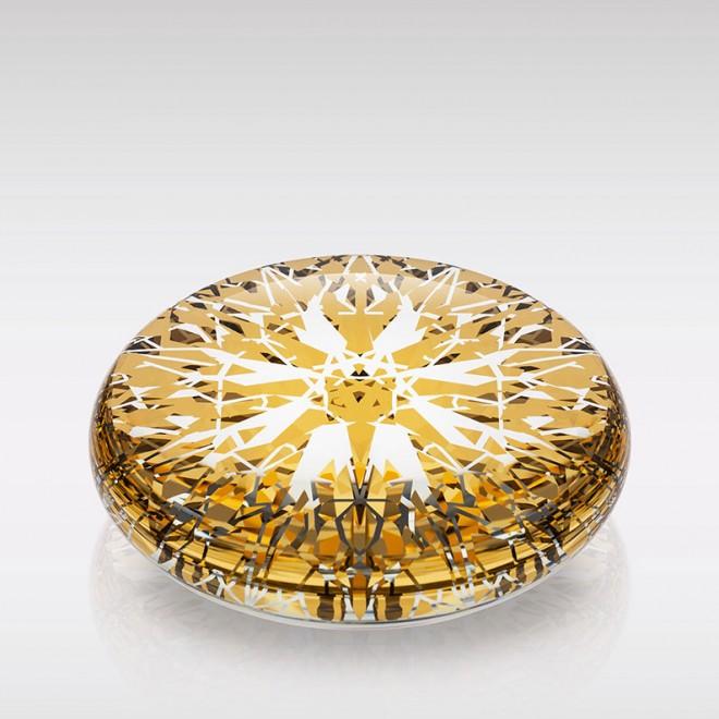 Diamond / Unique 1/1, 24-karátové zlato, optické sklo, 15 x 15 x 5 cm