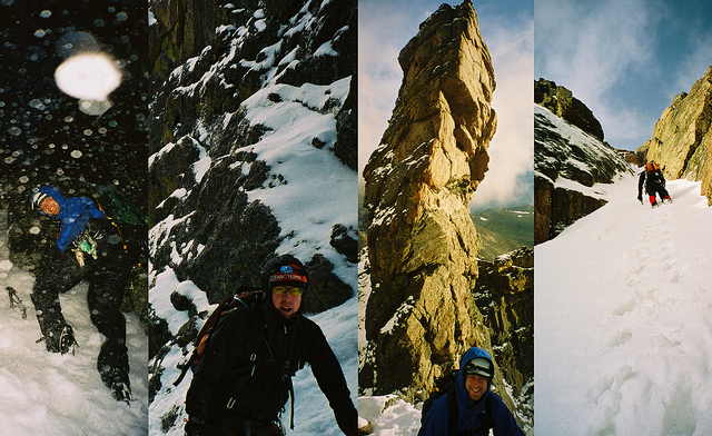 Blast from the Past on Flickr. Circa 2004, climbing Dreamweaver in RMNP with Sam
