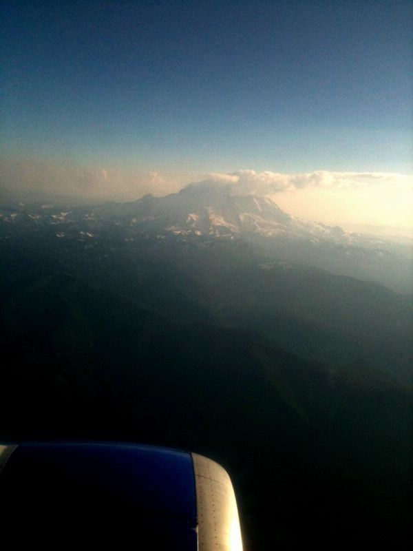 Mt Rainier from above, or at least out the window. (not this trip's objective)
