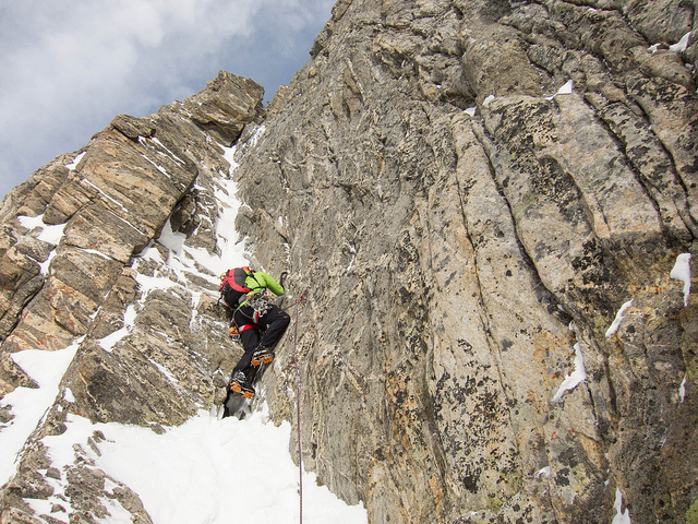 """Starting up on Flickr. Jon leading the first pitch of All in Moderation. Turned out there was no ice in the corner. The guide book rated the route at M4 with a roof above that """"feels like 5.9""""."""