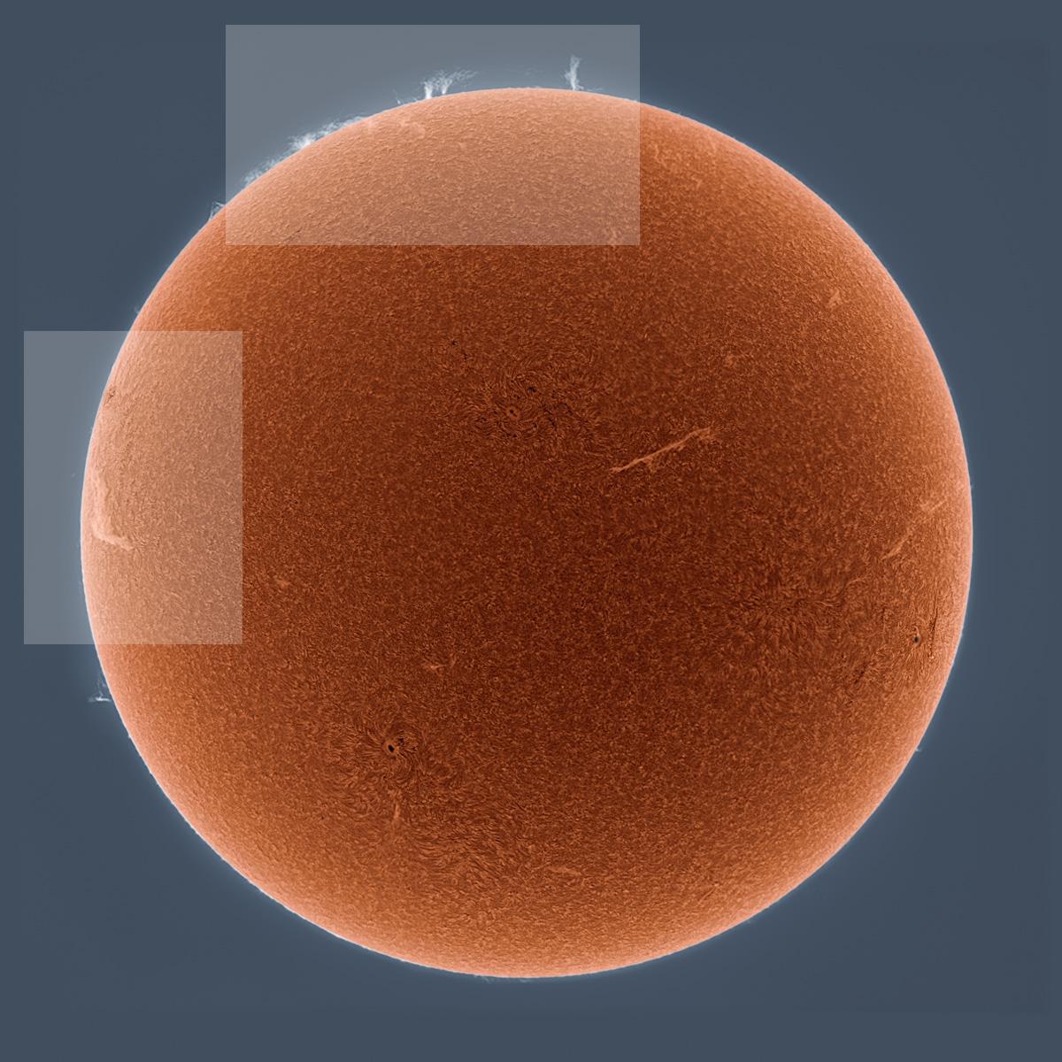 A portrait of the sun in the wavelength of hydrogen (Hα) alpha light. By Alan Friedman via @Kottke