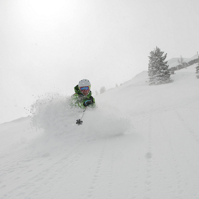 Saturday Powder  on Flickr.  Low density snow, low avy danger and a high degree of fun.