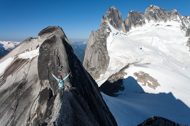Polly on the West Ridge of Pidgeon Spire on Flickr. A preview of the Bugaboos photos.