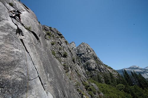 Sam on pitch 3 of Nutcracker in Yosemite.