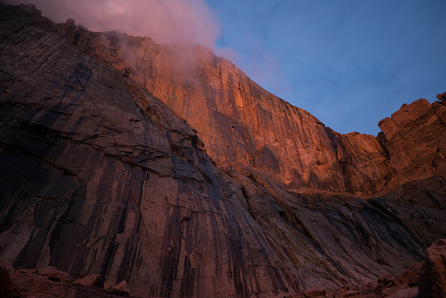 The Diamond face at dawn.  on Flickr.  Long's Peak.