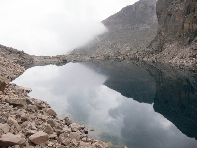 Chasm Lake and the clouds rolling in. on Flickr.