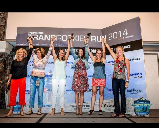 Katie Mazzia on the top step of the podium at TransRockies Run