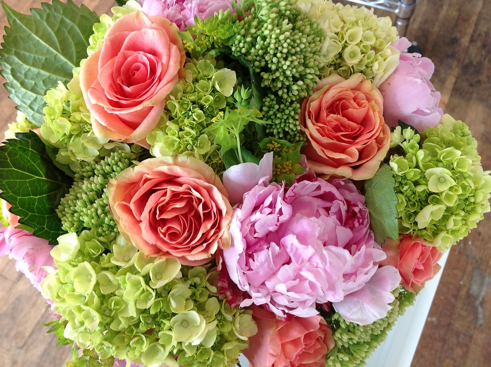 Spring arrangements green of greenwich spring flower arrangement in pinks and greens with peonyg mightylinksfo