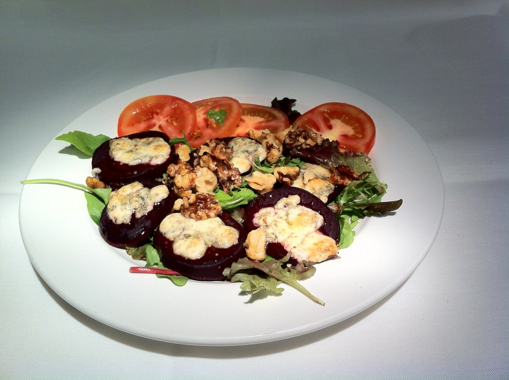 Oven Roasted Beets with Gorgonzola & Candied Walnuts
