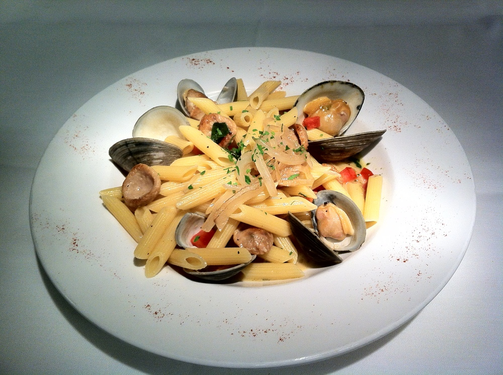 Penne Clam Zuppa with Chicken Sausage