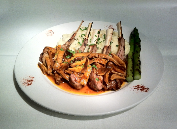 Grilled Rack of Veal Chops with Portabello Mushrooms