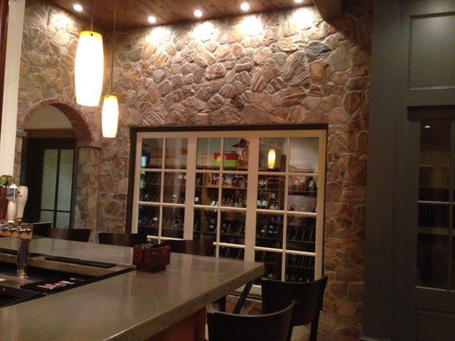 Looking into the wine cellar from the bar
