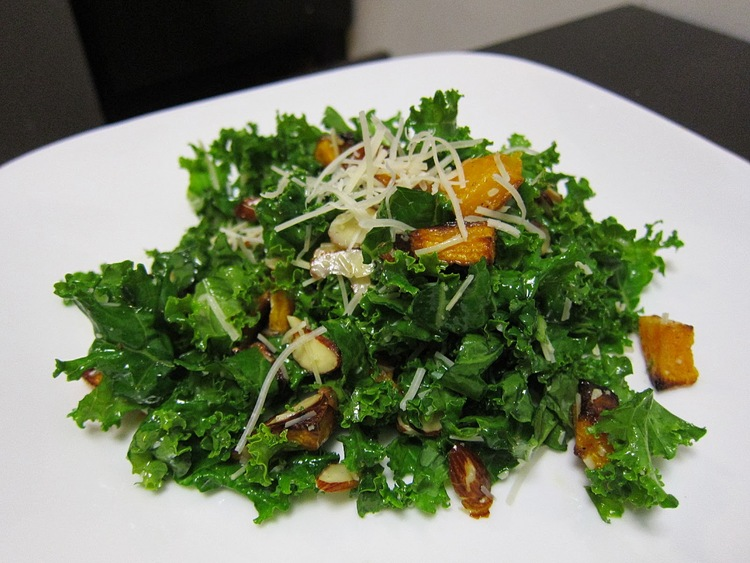 kale salad with roasted butternut squash