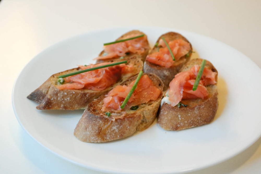 smoked salmon crostini with dill-chive compound butter — cooking ...