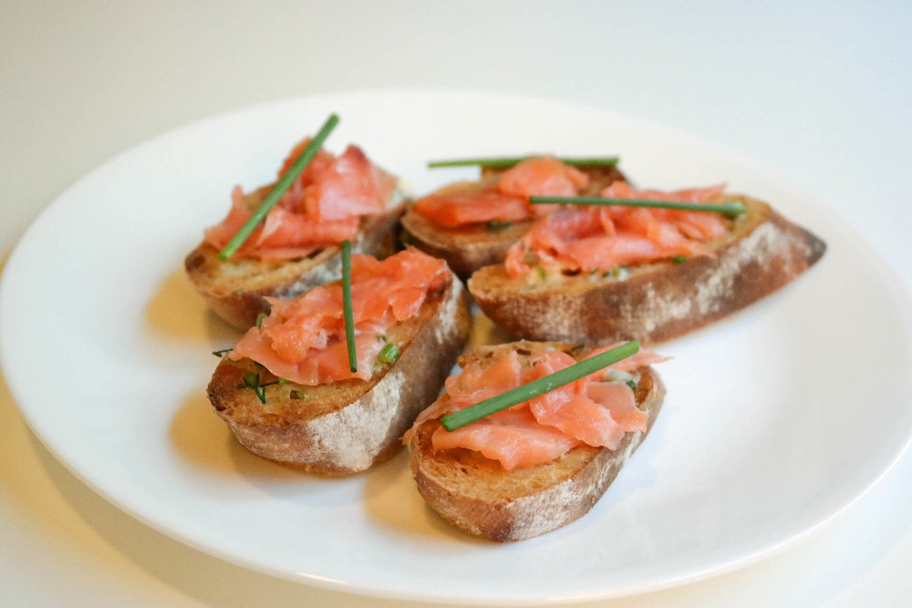 smoked salmon crostini with dill-chive compound butter ...