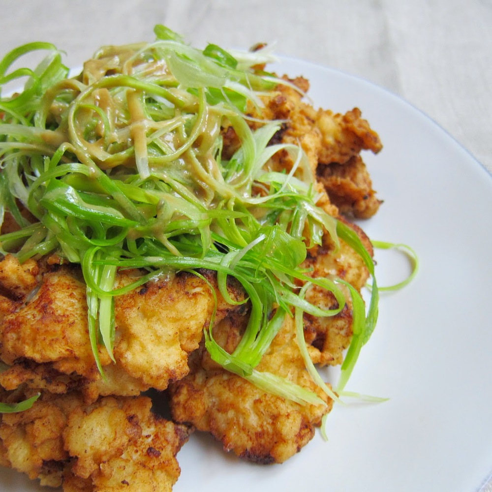 )/ korean fried chicken with spring onion & sweet soy-mustard sauce ...