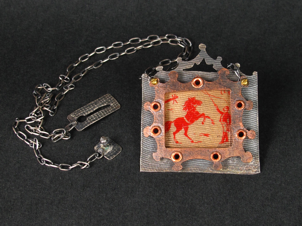 FABRICATED NECKLACE IN STERLING AND COPPER WITH 1880'S FRENCH CIRCUS IMAGE