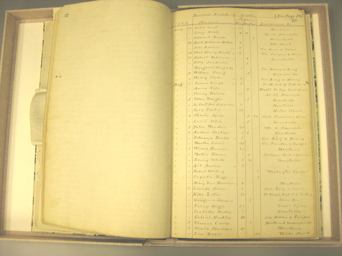 """Gladwin Record"": Arlington County (Va.) Book of Records Containing the Marriages and Deaths That Have Occurred Within the Official Jurisdiction of Rev. A. Gladwin. The Library of Virginia."