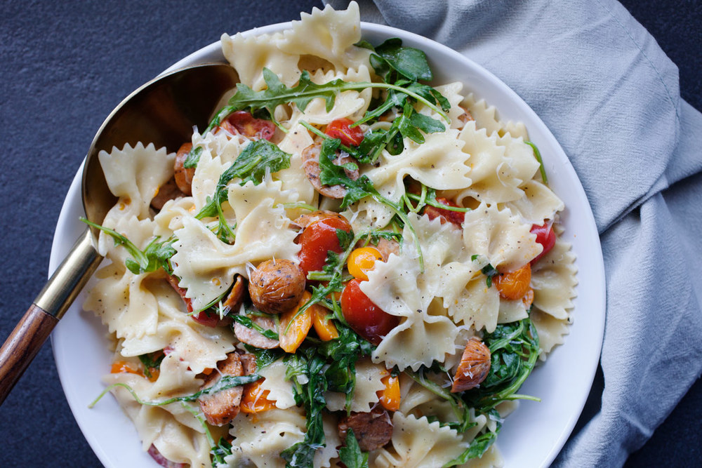 Pasta with Chicken Sausage and Arugula recipe