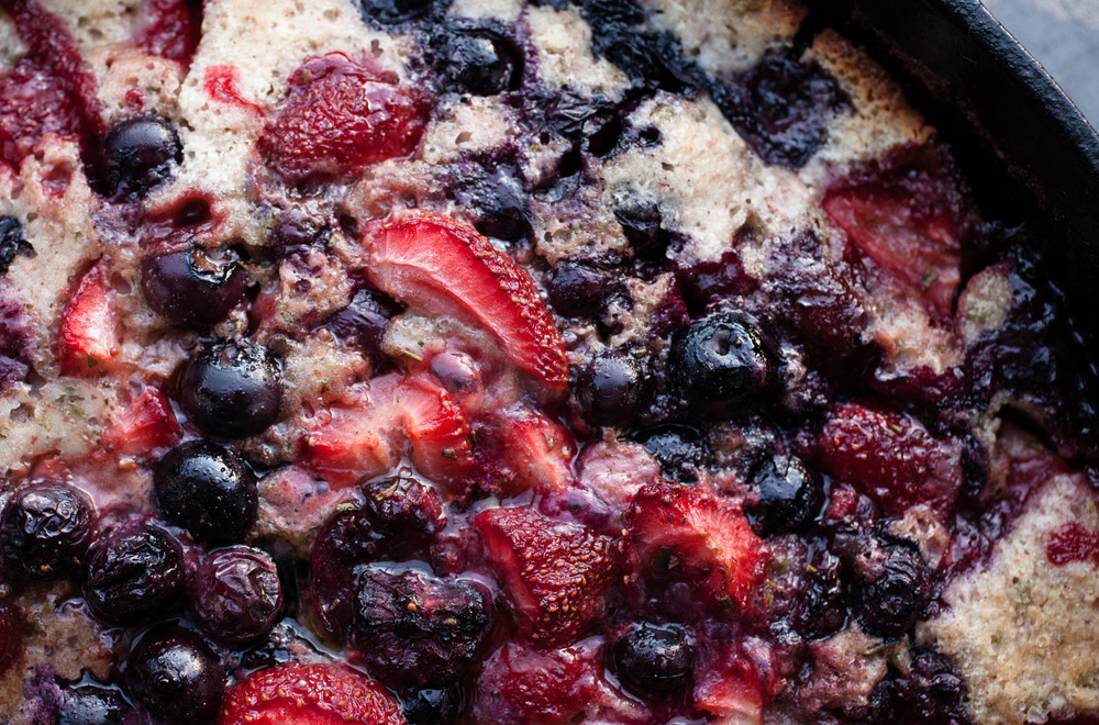 All-berry cobbler - blueberries, blackberries and strawberries.