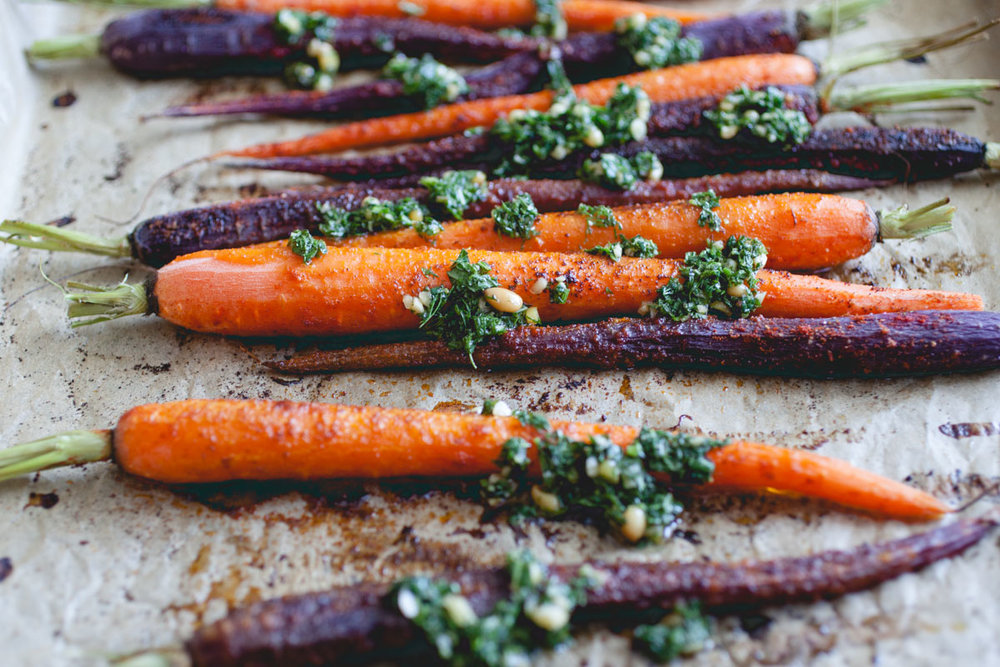 Roasted Carrots with Mint Dressing recipe