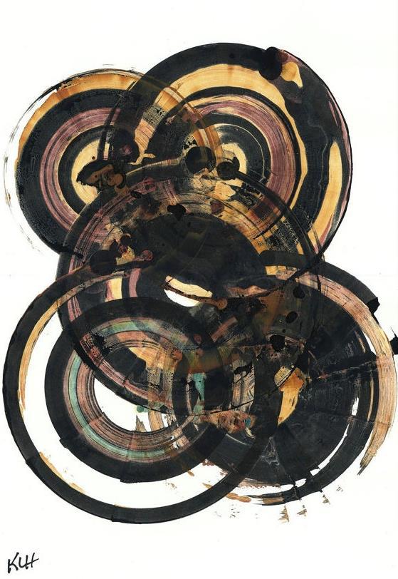 Kris w/Paris Om,   Black and Gold Circles