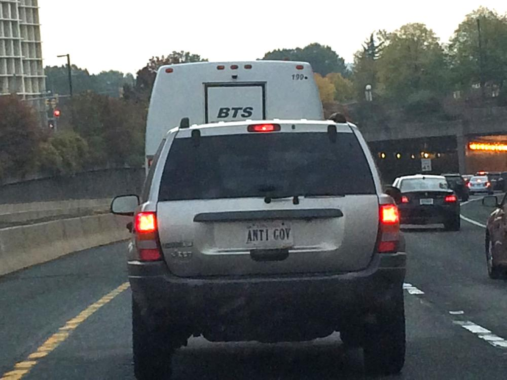 Mystery man with ANTI GOV plates.