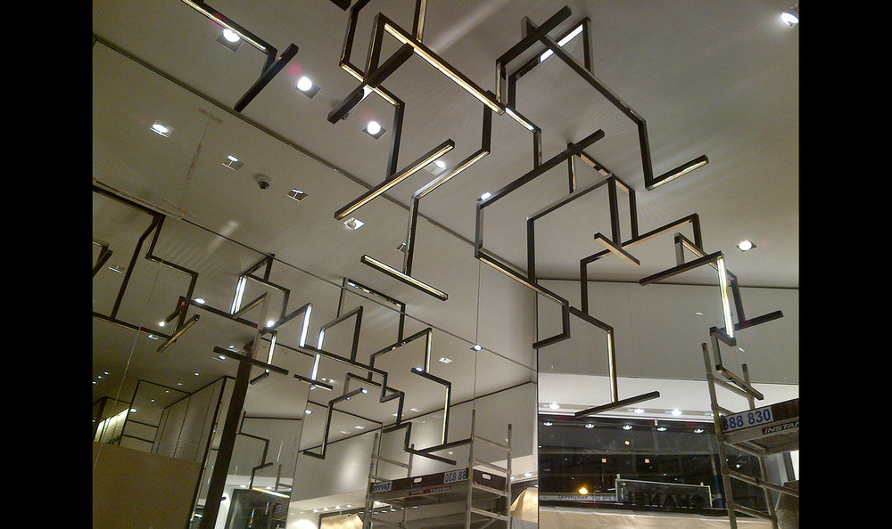 Chanel GoldBar light installation, Madrid.