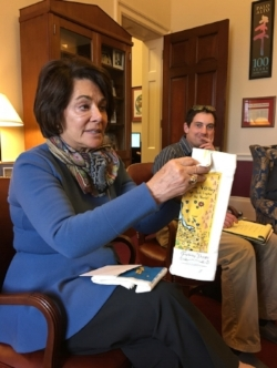 Congresswoman Anna Eshoo with our Gooseberry Designs Tea Towels!