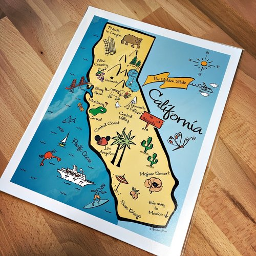 California Map Art Print Gooseberry Designs