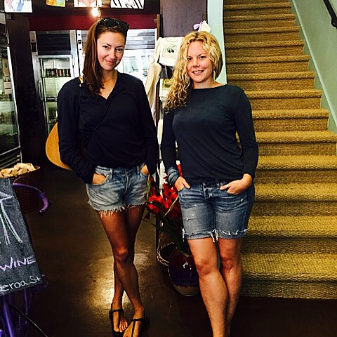 It's always lovely when friends come to visit at the shop, but even more exciting when you both are wearing almost identical outfits! #twinday #blueonblue #santabarbara #gourmet #friendsmaketheworldgoround