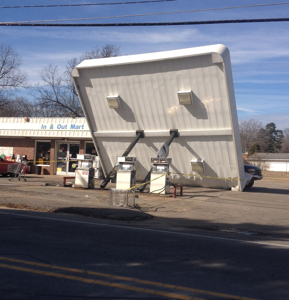 Franklinton, NC canopy failure was a bad day for the truck owner.
