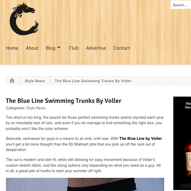 "Voller on Clotheshorse.org ""...a great pair of trunks to start your summer off right."""