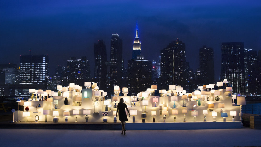 An installation of lamps that mimic the city skyline in NYC.