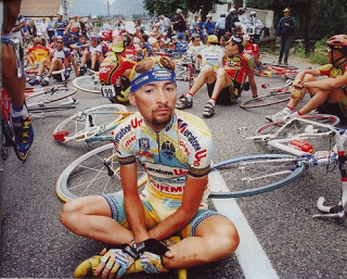 "Marco Pantani leads a ""sit-in"" to protest the exclusion of the Festina Team during the 1998 Tour. At least things got better in 1999, right?"