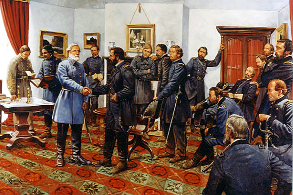Lee surrenders to Grant at Appomattox Court House