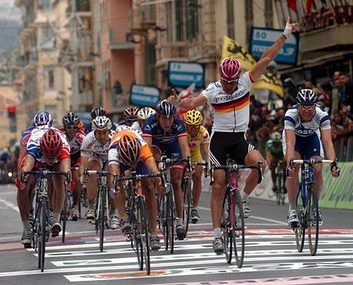 In the 2004 Milan-San-Remo, Erik Zabel was so happy about winning the race that he... well, forgot to make sure that he had won first.